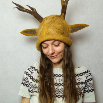 Deer Hat- Reindeer Hat - Animal Fawn Hat with Deer Ears and Antlers Hand-Felted with Mustard Yellow Merino Wool