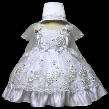 Baby Girl Toddler Christening Baptism Dress Gowns outfit set with bonnet /XS/S/M/L/XL/0-3M/3-6M/6-12M/12-18M/18-24M/XSMALL/SMALL/MEDIUM/LARGE/XL/2t/#5601