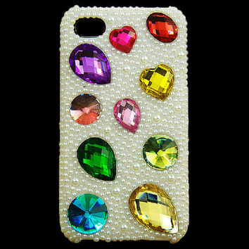 3D Colorful Rhinestones and Pearls Phone Case for iPhone 5 4S 4G 3GS