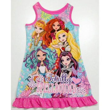 Casual Sleeveless Round Neck Monster High Pattern Flounced Girl's Dress