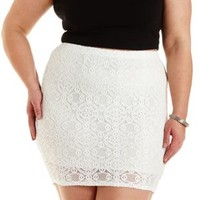 Plus Size White Bodycon Lace Mini Skirt by Charlotte Russe