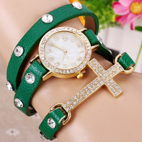 Green Leather Wrap Rhinestone Watch with Cross Pendant