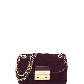 LMFON MICHAEL Michael Kors Sloan Small Quilted Velvet Shoulder Bag - Plum