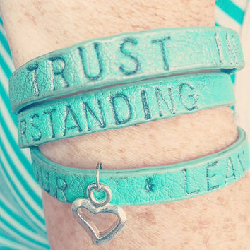 Inspirational Mint Green and Pewter 'Trust In The Lord with all your heart' leather wrap around bracelet, heart charm, adjustable