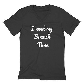 I need my brunch time funny saying cute mimosa graphic  V Neck T Shirt