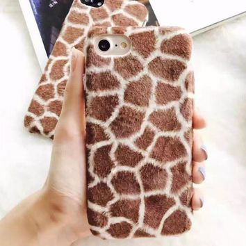 Fur Giraffe Pattern Case For Iphone 7 7plus & Iphone Se 5s 6 6 Plus Best Protection Cover +gift Box 150