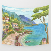 Seaside Scenic Landscape Wall Tapestry, blue green, coastal,  home, beautiful, watercolor wall art