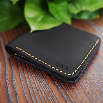 Men Engraved Wallet / /Men's crazy horse Leather Wallet/Minimalist Bifold Wallet /Monogram Wallet/ Ultra Slim Wallet/Simple Wallet/For Him