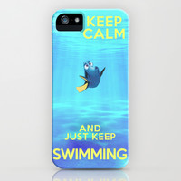Keep Calm and Just Keep Swimming REDUX  iPhone & iPod Case by Bluebird Design