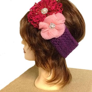 Women's burugndy loopy purple crochet and rose pink tulle pearl rhinestone flower crochet headband, white ear warmer, corsage headband