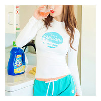 Woman Diving Suit Surfing Yoga Fitness Clothes Tops    white ellipse   S