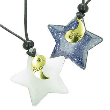 Lucky Best Friends Yin Yang Snowflake Quartz Blue Goldstone Star Pendant Necklaces