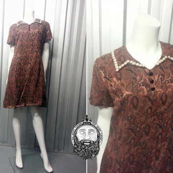 Vintage 60s Mod Mini Shift Dress Freemans Short Sleeve Crochet Lace Collar Scooter Twiggy Gogo Dress Jacquard Fabric Damask Print Floral