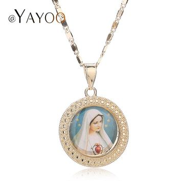 Jesus Necklace Women Men Cross Beads Jewelry Trendy  Gold Color Pendant For Vintage Statement Holiday Accessories