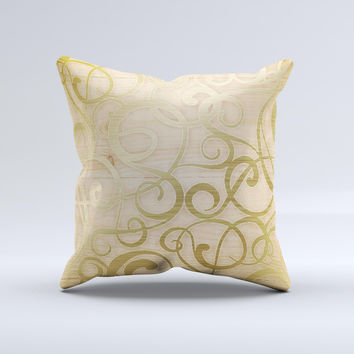 Bright Gold Spiral Wood Pattern ink-Fuzed Decorative Throw Pillow