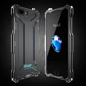 Shockproof IPX3 Waterproof For iPhone 7 Plus 5 5s 6 6s Tempered Glass 360 Protective Aluminum Metal Cover Luxury Powerful Case