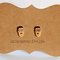 Hank Hill Stud Earrings,  gift idea, cool jewelry, unique, funky, 90's cartoon, MTV, King of the Hills, Mike Judge