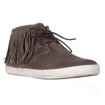 FRYE Dylan Fringe Moccasin Sneakers, Grey, 9.5 US