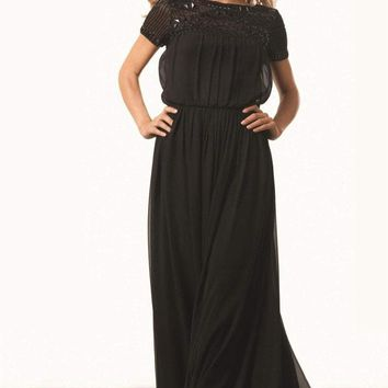 JS Collections - 862842 Short Sleeve Beaded Illusion Blouson Gown