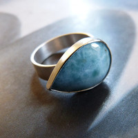 Larimar silver ring, handmade metalwork ring, natural jewelry, blue larimar, larimar ring,