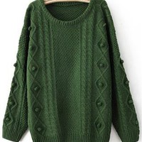 Green Round Neck Long Sleeve Pom Embellished Pullovers Sweat
