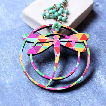 Dragonfly Necklace with Geometric Patterns in Pink, Yellow and Turquoise Blue