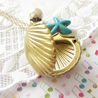 Starfish and Shell Brass Locket Necklace. Shell Gold Locket. Mermaid Shell Locket.  Beach Shell Jewelry.