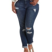 "Plus Size Refuge Refuge ""Boyfriend"" Destroyed Jeans"
