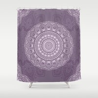 White Lace on Lavender Shower Curtain by Lena Photo Art