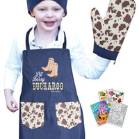Manual Woodworkers IOIZBR Buckaroo Boy Child Apron Set with Oven Mitt, Chef Hat & Activity Book