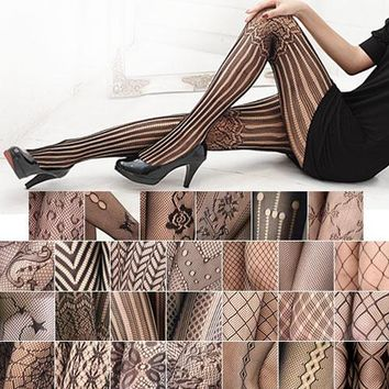 2017 Hot Fashion Women Sexy Black Fishnet Pattern Jacquard Calcetines Leg Warmers Stockings Pantyhose Tights 27 Style