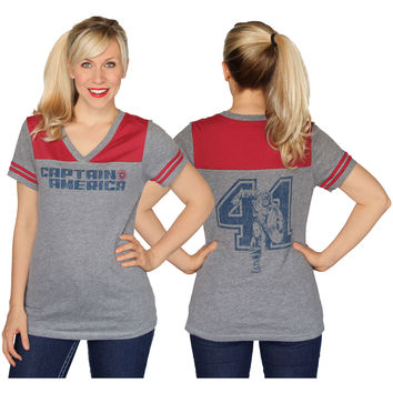 Captain America  41 Girls Jr Jersey Heather