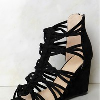 Suede Knotted Wedge Black