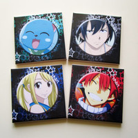 Set of 4 *** Fairy Tail *** inspired by / fan art collectible Drink Coasters Ceramic Tiles High Quality from Italy Anime Manga Japan