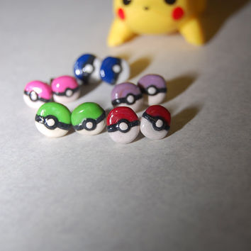 Handmade Pokeball stud earrings