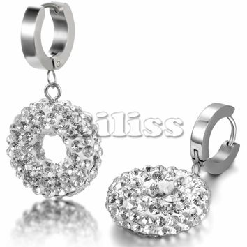SHIPS FROM USA 2017 New Arrival Stainless Steel Crystal Micro Pave Hollowing Round Silver Drop Shamballa Earrings For Women Christmas Gift