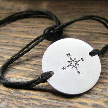 Bracelet Friendship COMPASS Hand Stamped 1 Tie On Hemp Cord ROUND Charm Style Mens Man Jewelry