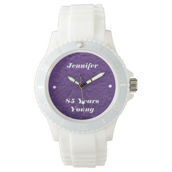 85 Years Young Watch, Purple Dolls, White Strap Watch