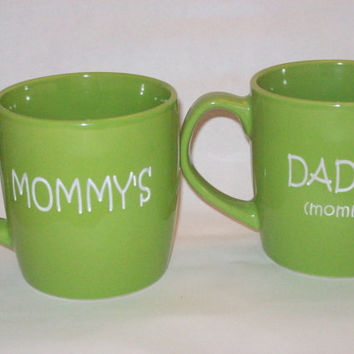 Mothers Day Mommy's Daddy's Mugs by sketchandetch on Etsy