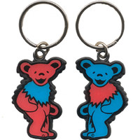 Grateful Dead Dancing Bear Blue and Red Metal Keychain