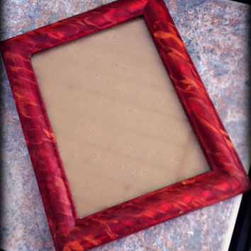 Hand Painted Wooden Picture Frame, Red & Orange, Fiery Pattern, Wall Hanging Photograph Frame