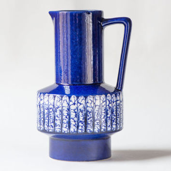 German Pottery Vase Pitcher – Colabt Blue vase Vintage - Drip Glaze Vase German Pottery – Modern Navy White Shades Vase - Home Decor 60s\70s