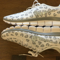 Blinged Out Women's White Nike Free Run 5.0 V4 Leopard Cheetah Print Running Shoes Customized with Clear Swarovski Crystals Rhinestone Bling