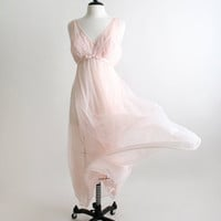 Vintage Vanity Fair Maxi Nightgown Sheer Pastel Pink by zwzzy