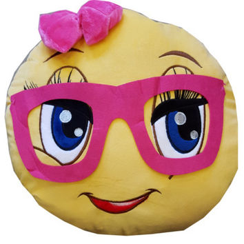 Emoji Girl Pillow with Glasses