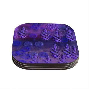 "Marianna Tankelevich ""Summer Night"" Purple Lavender Coasters (Set of 4)"