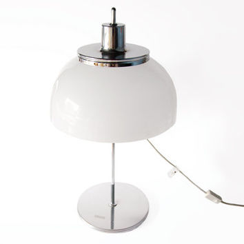 Original Italian Vintage White Harvey Guzzini Chrome Plated Mushroom Table Lamp - 1970s