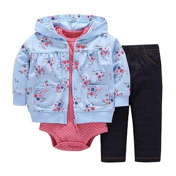 Newborn Baby boy Girls 3 Pieces Set Clothes Hooded Zipper Full Sleeve Open Stitch Coat+Full Sleeve Bodysuits+Floral Print Pants