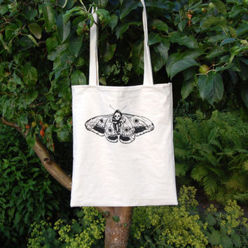 death head moth tote bag ~skull moth ~ screen print ~