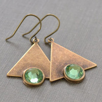 Art Deco Brass Triangle and Peridot Rhinestone Earrings, Deco Brass Triangle, Green Rhinestone Earrings, French Wire